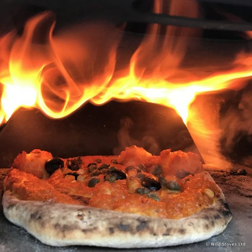 Ember pizza oven pizza cooking